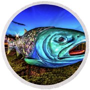 Soul Salmon During Blue Hour Round Beach Towel