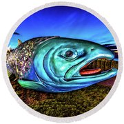 Soul Salmon During Blue Hour Round Beach Towel by Rob Green