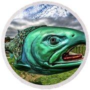 Soul Salmon In Hdr Round Beach Towel by Rob Green