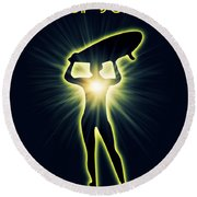 Soul Surfer Round Beach Towel by Mark Ashkenazi