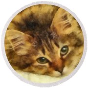 Soulful Eyes Round Beach Towel