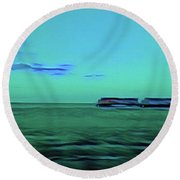 Sound Of A Train In The Distance Round Beach Towel
