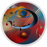 Round Beach Towel featuring the digital art Sound Of Bass Guitar by Leo Symon