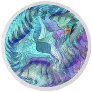 Sound Waves 2 Round Beach Towel by Iris Gelbart