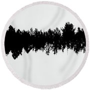 Sound Waves Made Of Trees Reflected Round Beach Towel