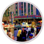 Round Beach Towel featuring the photograph Soups On Radio City Music Hall  by Tom Jelen