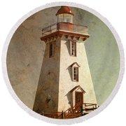 Souris Lighthouse 4 Round Beach Towel