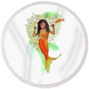 South African Mermaid Round Beach Towel