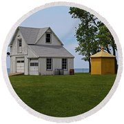 South Bass Island Lighthouse Barn And Oil Storage Building I Round Beach Towel