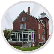 South Bass Island Lighthouse- Horizontal Round Beach Towel