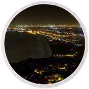 South Bay At Night Round Beach Towel