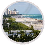 South Beach Late Afternoon Round Beach Towel