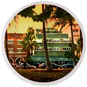 South Beach Ocean Drive Round Beach Towel