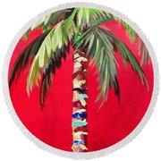 South Beach Palm II Round Beach Towel