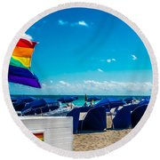 South Beach Pride Round Beach Towel