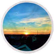 South Bethany Sunset Round Beach Towel