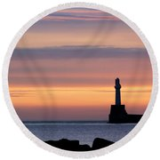 South Breakwater At Dawn - 2 Round Beach Towel