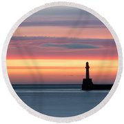 South Breakwater At Dawn Round Beach Towel