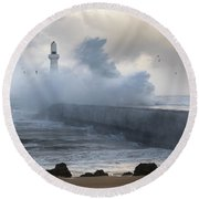South Breakwater In The Storm Round Beach Towel