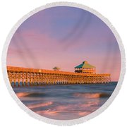 Round Beach Towel featuring the photograph South Carolina Fishing Pier At Sunset Panorama by Ranjay Mitra