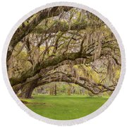 South Carolina Live Oaks At Charleston's Magnolia Plantation Gardens Round Beach Towel