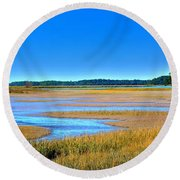 South Carolina Lowcountry H D R Round Beach Towel