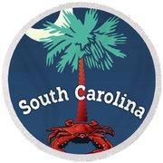 South Carolina Palmetto Crab Round Beach Towel