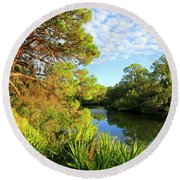 South Creek Near Nokomis, Southwest Florida, United States Round Beach Towel