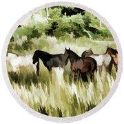 South Dakota Herd Of Horses Round Beach Towel by Wilma Birdwell