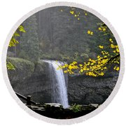 South Falls Of Silver Creek Round Beach Towel