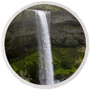 South Falls Of Silver Creek II Round Beach Towel