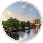 South Florida Canal Living Round Beach Towel