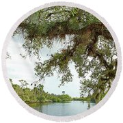 South Fork Of The Saint Lucie River Round Beach Towel by Larry Nieland