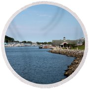 Round Beach Towel featuring the photograph South Haven Harbor In September #2 by Jeff Severson