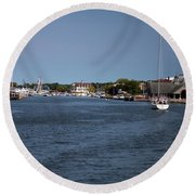 Round Beach Towel featuring the photograph South Haven Harbor In September by Jeff Severson
