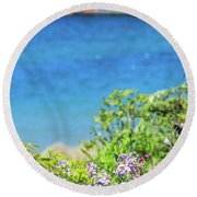 South Haven Lighthouse In Spring Round Beach Towel