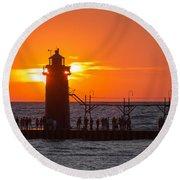 South Haven Michigan Sunset Round Beach Towel