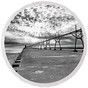 South Haven Pier Wide Angle Round Beach Towel