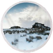 South Hessary Tor In The Snow II Round Beach Towel