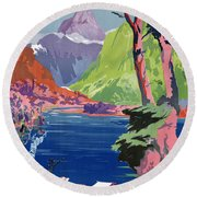 South Island New Zealand Vintage Poster Restored Round Beach Towel