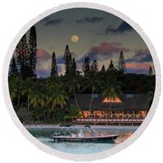 South Pacific Moonrise Round Beach Towel