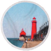 South Pier Of Grand Haven Round Beach Towel