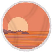 South Sea Morning Moon Round Beach Towel
