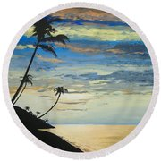 Round Beach Towel featuring the painting South Sea Sunset by Norm Starks