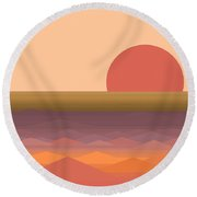 Round Beach Towel featuring the digital art South Seas Abstract Sunrise by Val Arie