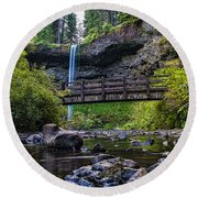 South Silver Falls With Bridge Round Beach Towel by Darcy Michaelchuk