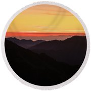 South Sound Sunset Layers Round Beach Towel by Mike Reid