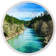 South Umpqua River Oregon  Round Beach Towel
