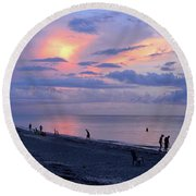 Southeast Side Of A Sunset Round Beach Towel