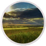 Southern Alberta Crop Land Round Beach Towel